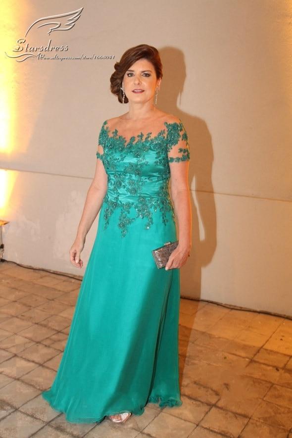 2017 Sheath Scoop Short Sleeve Brides Mother Dresses For Weddings Vestido Mae Da Noiva Longo Green Liqued Gown On Aliexpress Alibaba Group