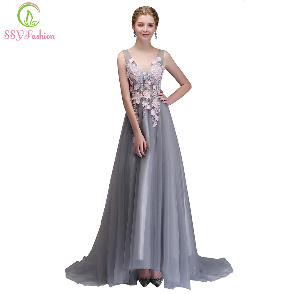 SSYFashion New Evening Dress The Bride Banquet Elegant Grey with Pink Flower V-neck Long Prom Party Formal Gown Robe De Soiree