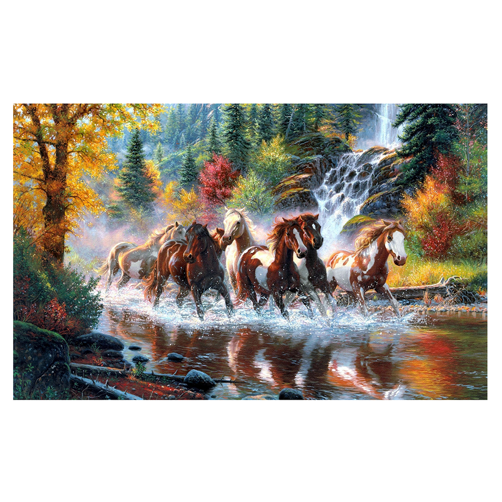 Mosaic Red Horses River 5D DIY Diamond Painting Round Rhinestone Embroidery Cross Stitch Needlework Craft