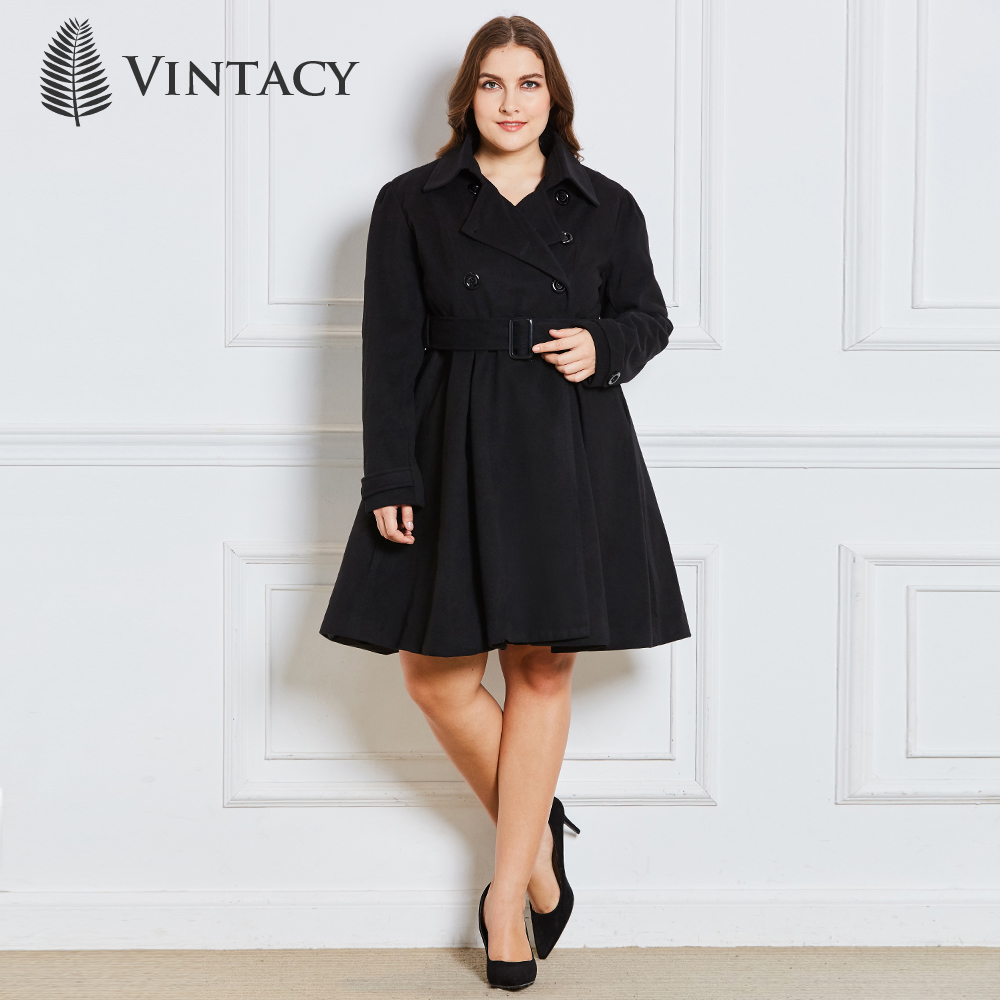 Women Wool Blends Coats Autumn Winter Fashion Belt Buttons Overcoat Plus Size Lapel A-Line Skirt Outerwear Office Elegant Coat