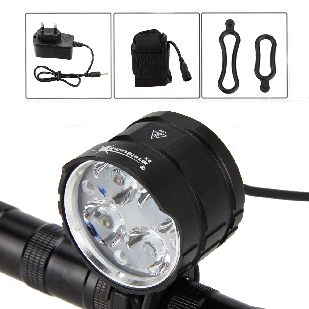 SolarStorm 8000LM 4x XML T6 LED Bike front Light Bicycle Cycling Led Lights Flashlight Handlamp+AC Charger 10000lm 6x xml t6 led front head bicycle bike front cycling light lamp head headlight black