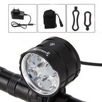 SolarStorm 8000LM 4x XML T6 LEDด้านหน้าจักรยานจักรยานขี่จักรยานLedไฟไฟฉายH Andlamp + ACชาร์