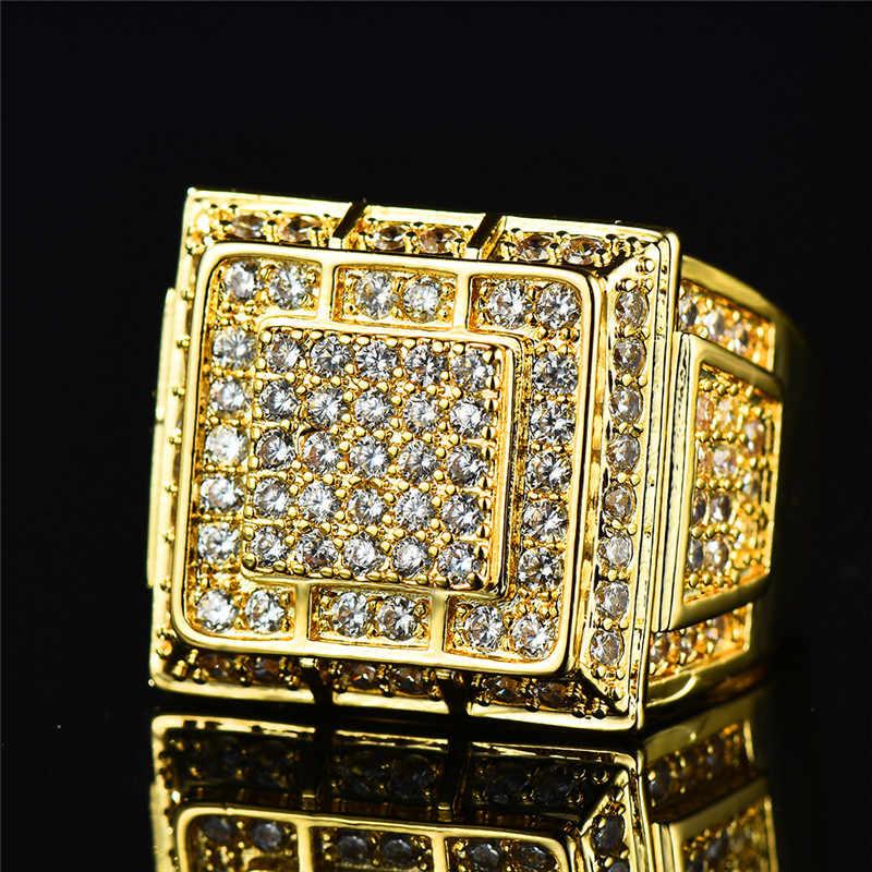 Gorgeous ชายหญิงใหญ่แหวนนิ้วมือหรูหรา Full Pave คริสตัล Zircon แหวนหินสีเหลืองทองผู้หญิงหมั้นแหวน