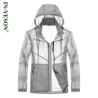 Summer sun protective jacket men sunscreen ultra thin quick dry waterproof windproof hooded transparent coat Anti uv men jacket