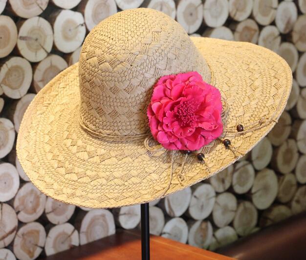 Цветочное оформление шляпа солнца летом пляжный отдых отпуск вс hat мода женщины шляпа женский высокое качество шляпа солнца кофе бежевый цвет
