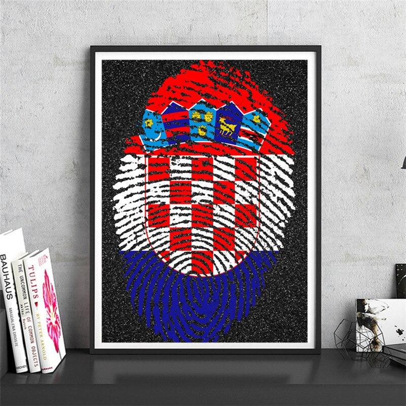 Fingerprint Karte Kroatien Krafts Papier Wandkunst Handwerk Aufkleber Cafe Bar Design Home Wohnzimmer Drucken Bild Freies