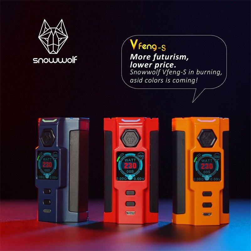 Snowwolf Vfeng-S Mod Sigelei Vaporisateur 230 W Boîte Mod 1.30 pouce TFT couleur écran TC Mods Vfeng S e cigarette Kit