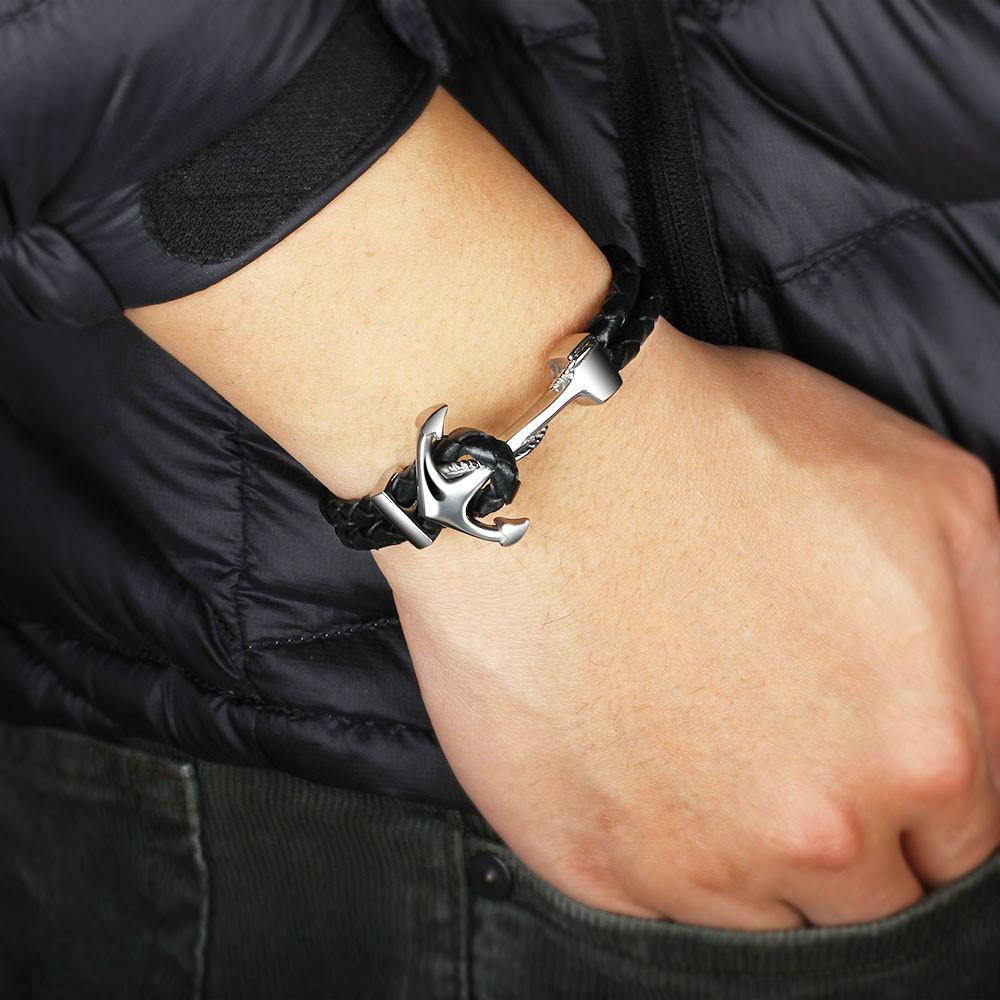 HTB1Z7LBLVXXXXXPXXXXq6xXFXXXS - Braided Leather and Silver Anchor Design Bracelet
