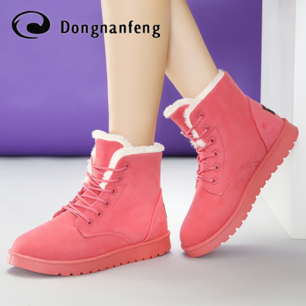 Dongnanfeng Hot Fashion Women Shoes Boots Flats Snow Rain Winter Plush Fur Ankle Keep Warm Lace Up Faux Suede Superstar WDN-6868