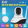 Security Wireless Wifi IP Camera 720P Two Way Audio Video Surveillance Camera Gsm Alarm System + Motion Sensor + Smoke Detector