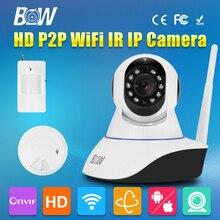 Безопасности Беспроводной Wi-Fi Ip-камера 720 P Двухстороннее Аудио-Видео Камеры видеонаблюдения, Gsm Сигнализация + Motion Sensor + Дым детектор
