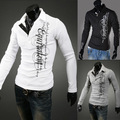 New wholesale EBay fashion printing letters long sleeve shirt slim British polo shirt 30