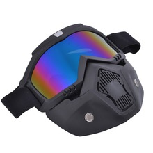 New motorcycle helmet face mask dust mask with detachable Goggles Mouth Filter for modular Open Face