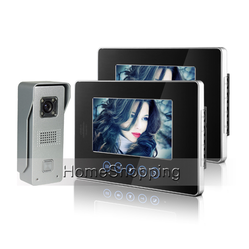 цены  Brand New Wired 7 inch Touch Color Screen Video Door Phone intercom System 2 Monitors 1 Doorbell Camera FREE SHIPPING IN Stock