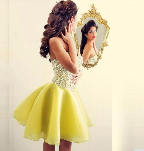 2017 Luxury Yellow   Cocktail     Dresses   Sweet Beaded Crystals Evening Party Gowns Fashion Elegant Charming Prom   Dress