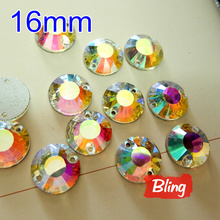 New Hot 96pcs/box 16mm Round Sew on Rhinestones Crystal Clear AB Flat Top 2 holes Sewing Glass Crystal for Bags Shoes B0257