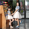 Authentic Summer Style Mother Daughter Dresses 2016 Denim & Cotton  Dress Fashion Casual Vestidos Family Matching Clothes dress