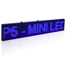 20x4Inch SMD P5 Led Sign Module Programmable Scrolling Message LED Display Board with Metal Chain,Blue