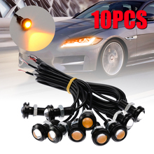 Mayitr 10pcs 18mm Eagle Eye COB LED Car Daytime Running DRL Head Tail Backup Light Amber Lamp Waterproof