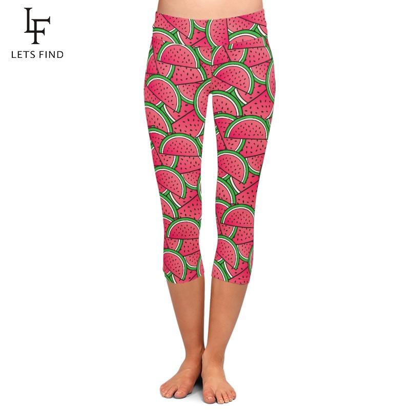 Fashion Women Capri Leggings for Summer 3D Watermelon Print High Waist Plus Size Fruit Printed Fitness Leggings Mid-Calf Pants