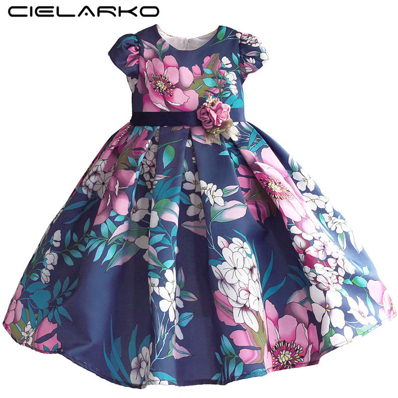 Cielarko Girls Dress Flower Print Pageant Ball Gown Cotton Kids Wedding Party Dresses Summer Baby Vintage Frock for 2-8 Years summer dresses for girls party dress 100% cotton summer cool and refreshing the harness green flowered dress 1 5years old