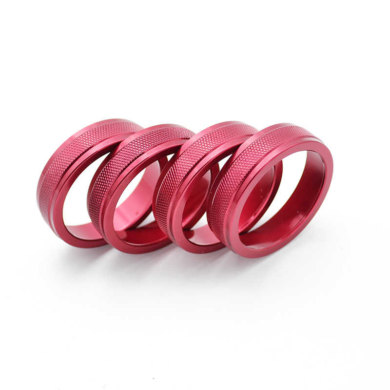 4Pcs Red Color AC Climate Heater Control Switch Knobs Cover Trim For VOLVO  S60 V60 XC60 S80 V40 V70 XC70 Button Dials Ring