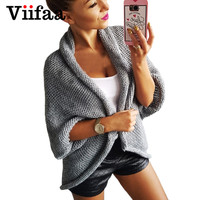 Viifaa Tricoté Poncho Surdimensionné Chandail Femmes Manteau Style Gris Cardigan Chauve-Souris Manches Cape Tricots Pull Femme