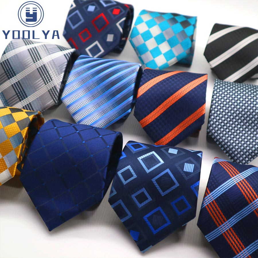 Classic Men's Tie 8CM Plaid Checks Stripes Silk Necktie Jacquard Woven Neck Ties For Adult Business Wedding Party Neckwear Gift