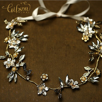 Free Shipping Gold Plated Floral Rhinestone Wedding Headpieces Gold Hairbands For Bride Diademas Pelo Boda