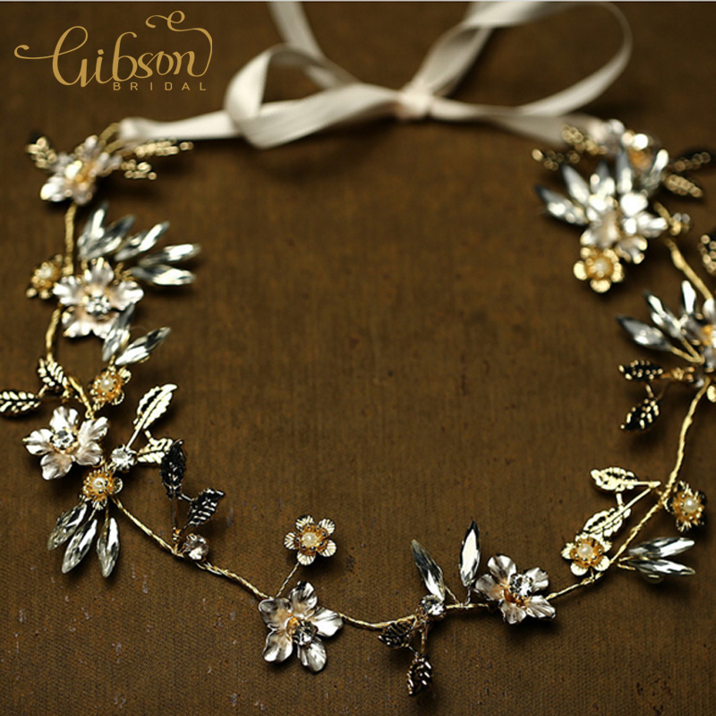 Free Shipping Gold Plated Floral Rhinestone Wedding Headpieces Gold Hairbands for Bride diademas pelo boda
