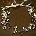 Oro Plateado Libre del envío Floral Rhinestone Tocados De Novia Oro Hairbands pelo diademas de Novia boda