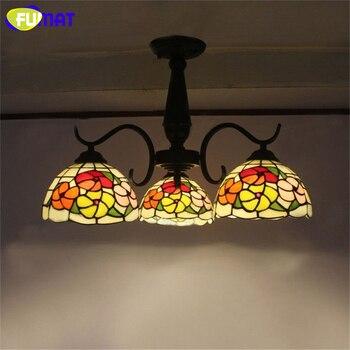 FUMAT Tavan Lambası Avrupa Vintage Vitray Tavan Lambası Cam aydınlatma armatürleri Oturma Odası Çalışma Odası Tavan Işıkları