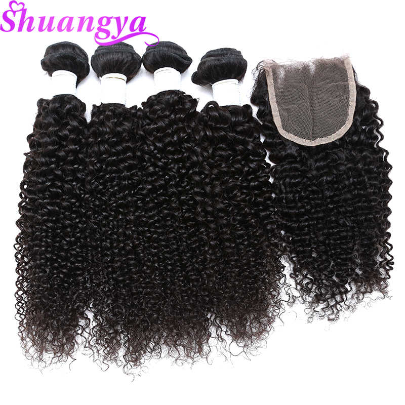 Shuangya Реми странный вьющихся волос, плетение Связки 100% человеческих волос Связки с закрытием индийские волосы переплетения 3/4 Связки с закрытием