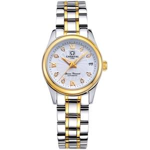 Image 2 - Carnival Women Automatic Watch Brief With Rhinestone Date Luxury Mechanical Watch Women Dress Watch Small Dis 26mm