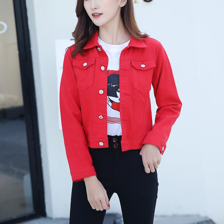 2018 5 Colors Autumn Women Denim   Jacket   Overcoat Short Jeans   Basic     Jackets   Turn Down Collar Slim White Black Jeans   Jacket