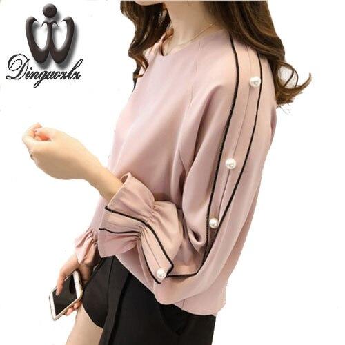 Большие Размеры шифон рубашка женская 2017 Blusa бисером Топы корректирующие Осень с длинными рукавами сплошной цвет Для женщин блузка Для женщин одежда