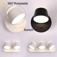360 grad Rotation Wand Lampen für Nacht Führte Lesen Licht  neue Design-Taste und Touch Schalter Optional Treppen Wand Lichter
