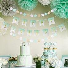 Мятно-зеленого цвета, День рождения украшения набор счастливое баннер на день рождения с горошек гирлянда висит вихрем декоративная ткань ...
