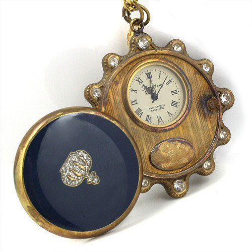 wholesale Blue Gemstone Copper Unisex Pocket Watch Necklace Key freeship T688