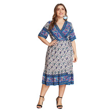 Summer Big Size Dresses for Women Super Casual Print Floral Bohemian Dress Ladies Oversized Plump Girl Elegant