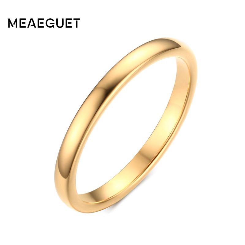 Meaeguet 100% Tungsten Ring 2MM Wide Gold/Silver Color Tungsten Carbide Rings For Women Wedding Finger Jewelry
