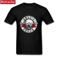 Elegant Male Silver Guns N Roses Bullet Tour Tees Short Sleeved Organic Cotton Seal Red Flower