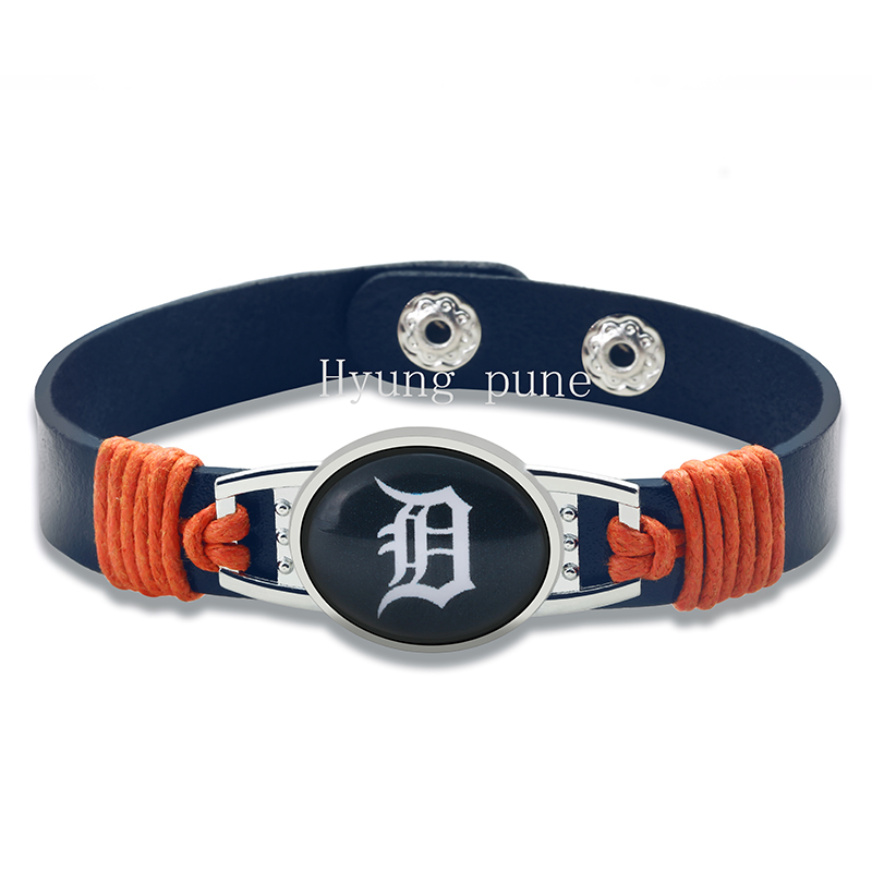 Detroit Tigers Genuine Leather Adjule Bracelet Wristband Cuff 12mm Dark Blue Snap On Charm Jewelry In Bracelets From