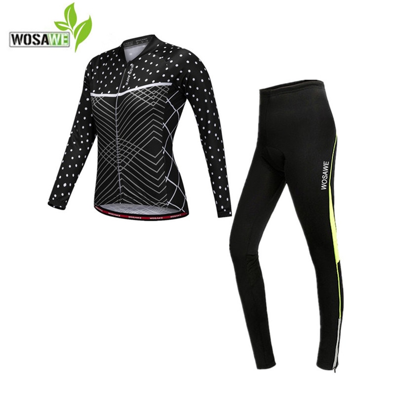WOSAWE women pro team cycling jersey sets full length quick dry autumn clothes equipments bike bicycle ciclismo cycling clothing