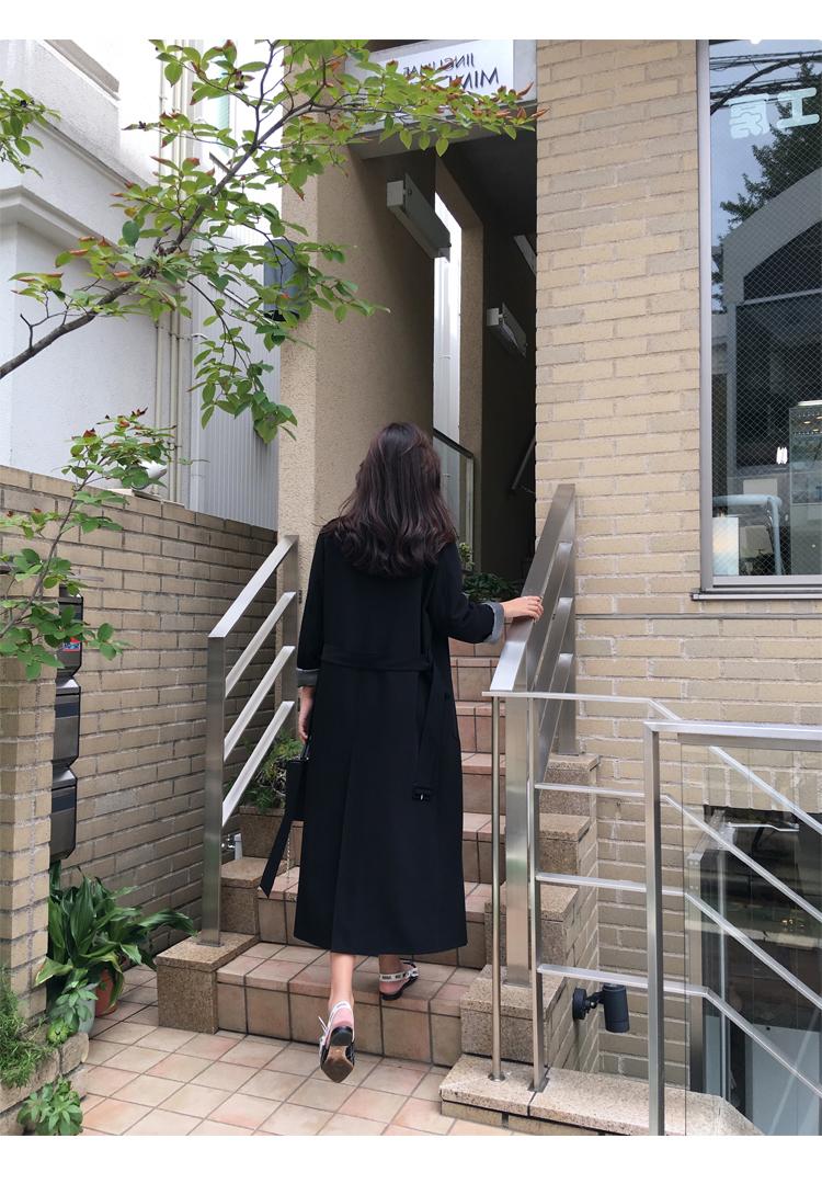 Spring Autumn Maxi Long Women's Loose Trench Coat With Belt Khaki & Black Plus Size Korean Style Windbreaker Outwear 14