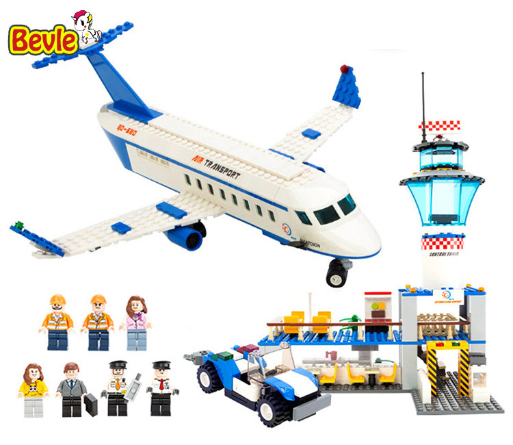 Bevle Gudi 8912 652Pcs City Series International Airport Space Shuttle Building Blocks Airplane Toys gudi city international airport