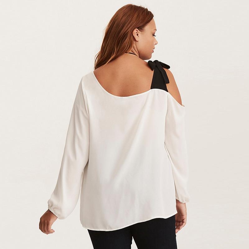 LALAIKAI Plus Size 3XL 4XL 5XL 6XL 7XL Lacing Spliced Blouse Women Chic Skew Collar Top Off Shoulder Loose Shirt Lady SWA1658-47 3