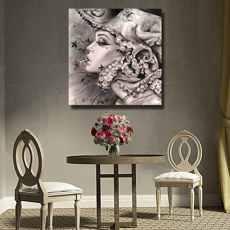 Pinsel Moderne Rauchen Mädchen Kunst Bild handarbeit Ölgemälde Dekoration Wandkunst Leinwand Malerei Setzt Kein feld - 4