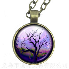 Dusk Tree of Life Necklace Glass Cabochon Car Pendant For Women Jewelry Gift Sweater chain(China)