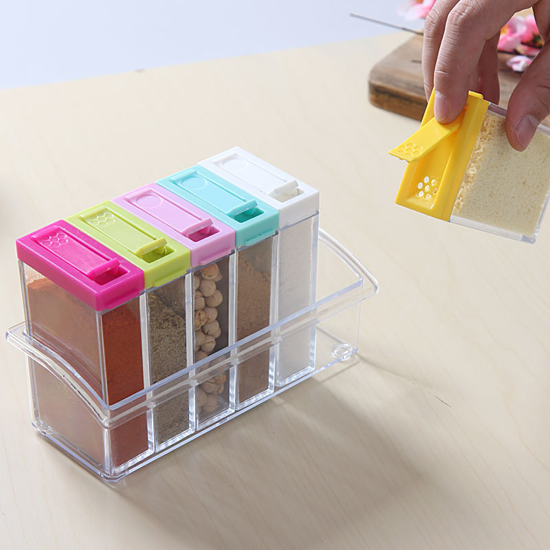 6pcs/set For Spices Storage Box Transparent Spice Jar Set Simple Colorful Lid Seasoning Box Kitchen Tools Salt Condiment Cruet